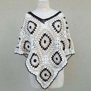 Handmade crochet mini poncho